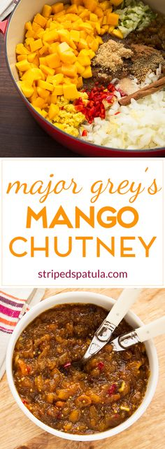 """Sweet and tangy with a kick of """"heat"""" in the background, Major Grey's Mango Chutney is a delicious accompaniment to curries, meats, and cheeses alike. Fruit Recipes, Wine Recipes, Indian Food Recipes, Vegan Recipes, Cooking Recipes, African Recipes, Curry Recipes, Chutney Recipes, Salads"""