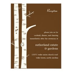 DealsBirch Trees Wedding Reception Card - Chocolate InvitesIn our offer link above you will see