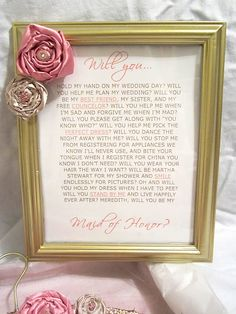 Maid of honor, will you?