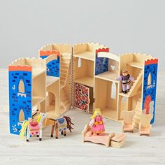 Shop Fold and Go Castle.  Imagine holding royal court with the help of our Fold and Go Castle.  The castle is completely assembled, so kids can simply unfold and play.  Plus, the set comes with royal characters, furniture and two horses.