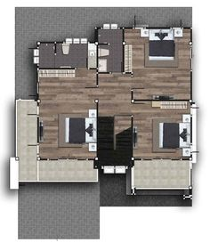 Two Storey Modern House with 280 sq. Useful Space - House And Decors Two Story House Design, Two Story House Plans, Two Story Homes, Porch And Terrace, Brown Roofs, Small Porches, Roof Colors, Ground Floor Plan, Built In Cabinets