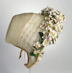 ~Circa 1863 Wedding Bonnet, Philadelphia, PA:  horsehair braid and flower embellishment~