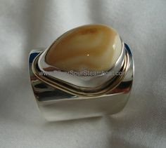 Fabricated Sterling Silver Elk tooth wide band ring with gold wire trim Elk Ivory, Wide Band Rings, Gold Wire, Teeth, Silver Jewelry, Gemstone Rings, Jewelry Design, Christmas Wishes, Sterling Silver