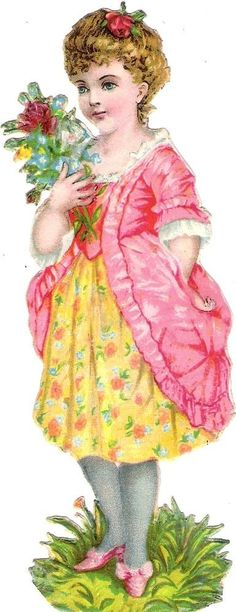 Oblaten Glanzbild scrap die cut chromo Kind child  15,4 cm Rose bouquet