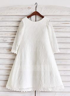 [US$ 59.99] A-Line/Princess Tea-length Flower Girl Dress - Lace Long Sleeves Scoop Neck (010091387)