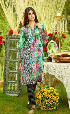 Shirt:  Fabric: Embroidered Lawn Shirt Front, Printed Back with Sleeves.
