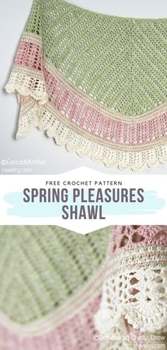 How to Crochet Spring Pleasures Shawl - - Lace, light color combinations, fringes. Today's collection of free patterns for crochet Light Spring Shawls evidently has it all! When the weather gets. One Skein Crochet, Crochet Shawl Free, Crochet Shawls And Wraps, Crochet Scarves, Crochet Blankets, Laine Rowan, Crochet Triangle, Light Spring, Crochet Accessories