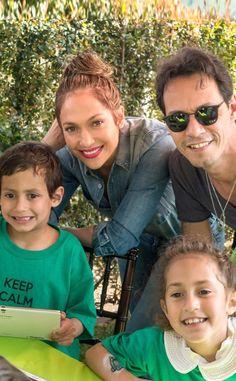 Jennifer Lopez, Marc Anthony & twins. (He looks like Marc. She looks like Jennifer.)