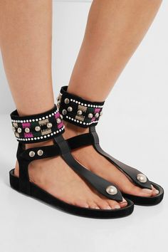 Sole measures approximately 15mm/ 0.5 inches Black suede and leather Push stud-fastening ankle strap  Imported