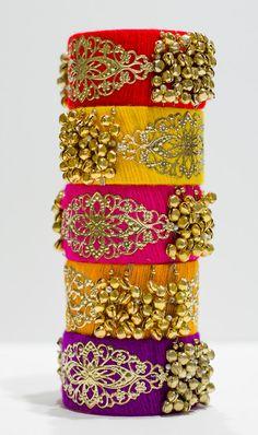 Silk thread bangles / Punjabi Big Bangles by TheLittleMagicBox Silk Thread Bangles Design, Silk Bangles, Bridal Bangles, Thread Jewellery, Imitation Jewelry, India Jewelry, Jewelry Patterns, Making Ideas, Bangle Bracelets