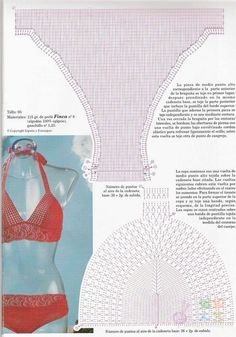 Crochet Bikini Patterns - Beautiful Crochet Patterns and Knitting Patterns Crochet Lingerie, Crochet Bikini Pattern, Crochet Bikini Top, Crochet Patterns, Knitting Patterns, Swimsuit Pattern, Pull Crochet, Diy Crochet, Crochet Chart