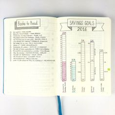 Bullet Journal - Books to Read & Savings Goals - a great way of tracking savings towards certain goals.