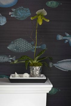 The Ace Of Space Blog...my masterbath makeover featuring Fornasetti wallpaper...Photo/Christina Wedge