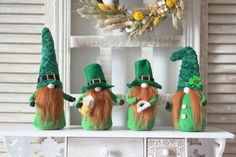 St Patricks Day Leprechaun, Irish Gnome home decor, Irish Shamrock Gnome for St Patty's Day by DreamCraftbyLucy on Etsy Handmade Christmas Decorations, Holiday Crafts, Christmas Ornaments, Holiday Decor, Hand Fans For Wedding, Wedding Gifts For Guests, Female Gnome, Leprechaun Hats, Scandinavian Gnomes