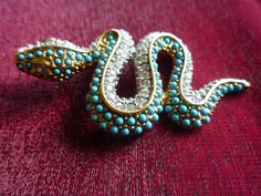 1960S KENNETH J LANE COUTURE RUNWAY TURQUOISE/DIAMOND GOLD SNAKE BROOCH!! #KennethJayLane