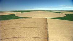 Kansas crop circles, the by-product of pivot point irrigation systems. From Aerial America: http://www.smithsonianchannel.com/site/sn/show.do?episode=3361525