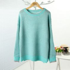Blue Tone Cut-out Design Contrast Colored Sweater $28.99