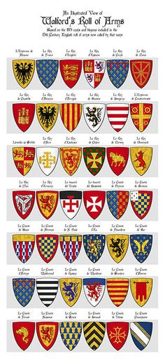 Walford's Roll of Arms, Panel 1, Shields 1 - 42 - Category:Walford's Roll - Wikimedia Commons