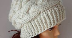 Slouchy Womens Knit Hat creamy Beanie Womens Accessories