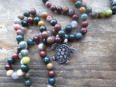 Turtle Island, turtle prayer beads, turtle mala, totem mala, turtle necklace, totem prayer beads, totem necklace, pagan prayer beads, pagan by MagickAlive on Etsy