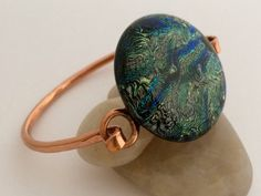 Forged Copper Bracelet with Blue Green Silver by 3DGlassDesigns