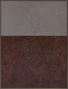 """""""Dolore di cose che ignoro"""" tecnica mista/legno/pietre su tavola 2013"""
