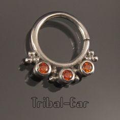 Septum Nose Ring Plain Silver Orange/Clear/Purple Zircon Piercing Body Anneau Nez Tribal Ear 060