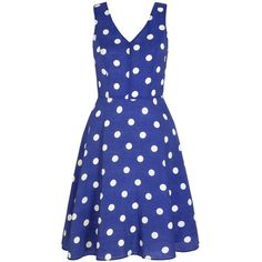 Yumi Polka Dot Print Day Dress ($46) ❤ liked on Polyvore featuring dresses, blue, clearance, blue skater skirt, circle skirt, blue fit-and-flare dresses, blue polka dot dress and knee length dresses