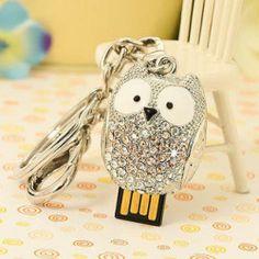 Rhinestone Owl 4G U-Disk