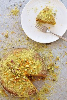 Orange, Pistachio and Honey Polenta Cake