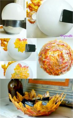 Diy bowl - How to Make these Beautifully Decorative DIY Fall Leaf Bowls Mason Jar Crafts, Mason Jar Diy, Diy On A Budget, Decorating On A Budget, Interior Decorating, Interior Ideas, Diy And Crafts, Crafts For Kids, Kids Diy