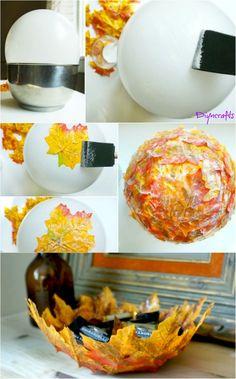 Diy bowl - How to Make these Beautifully Decorative DIY Fall Leaf Bowls Mason Jar Crafts, Mason Jar Diy, Mason Jar Candles, Leaf Bowls, Crafts For Kids, Diy Crafts, Kids Diy, Diy Autumn Crafts, Fall Leaves Crafts