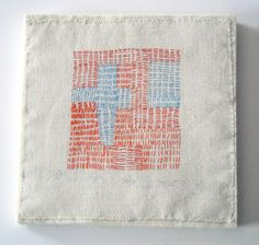 """Crossroads, 2007, hand stitched on vintage linen, 9"""" x 9"""" mounted on 1/2"""" thick wool felt"""