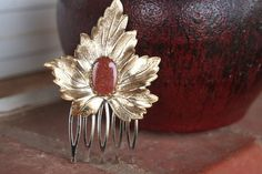 Vintage Upcycled Gold Leaf  Goldstone Hair Comb by ahunterrn, $20.00