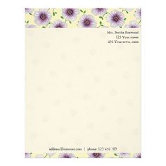 Floral Purple Garden Flowers Photo Custom Address Letterhead