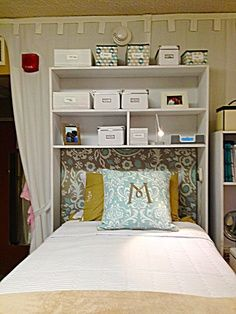 above bed storage dorm - Google Search