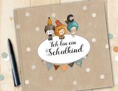 Bücher - Schulkind Album, Geschenk Einschulung - ein Designerstück von pipapier bei DaWanda