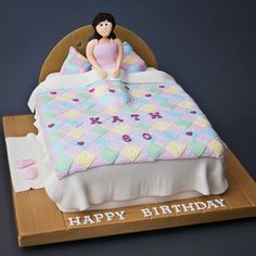 Spa & Sleepovers cake from The Cake Works Pretty Birthday Cakes, Happy Birthday, Bed Cake, Girls In Bed, Cake Works, Cake Shapes, Cakes For Women, Girl Christening, Cake Makers
