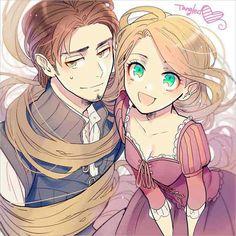 Rapunzel and Eugene anime style