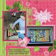 Hier mijn lo's gemaakt met de mooie kit HSA Teen Girls , Shop link .Foto van mij zelf van .. Lo 2 Nerissa heeft plezier met bakken en het maken van kunst werkjes, maart / oktober 2012 Font Calibri Zelf geschaduwd