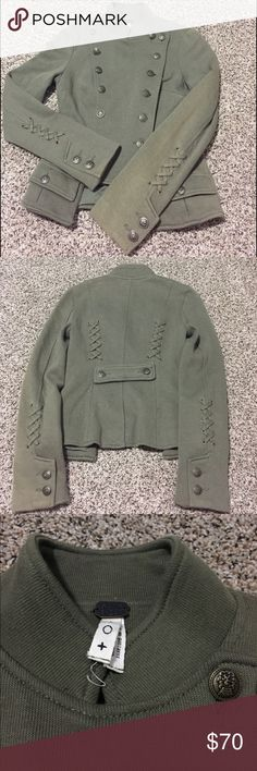 We the Free Majorette Jacket in size 0 Used and ****Damaged**** (discoloration on one of the sleeves) We the Free olive/green majorette jacket in size 0, front pockets, fully lined, double breasted front pocket closure, Free People Jackets & Coats Blazers