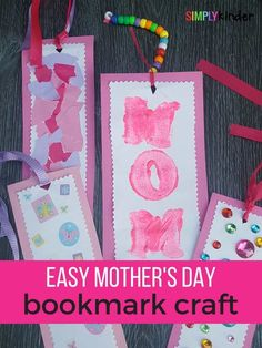 Easy Mother's Day Bookmark Gifts for Kindergarten - Simply Kinder Mothers Day Crafts Preschool, Easy Mother's Day Crafts, Spring Crafts For Kids, Sunday School Crafts, Fathers Day Crafts, Crafts For Kids To Make, Toddler Crafts, Art For Kids, Kid Crafts