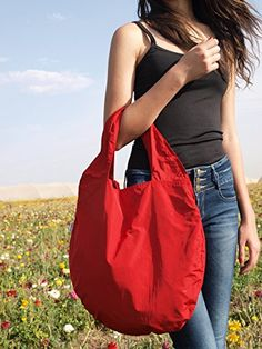 Large red hobo bag for women  Italian cotton red shoulder bag with comfortable pockets red tote bag *** Click on the image for additional details.