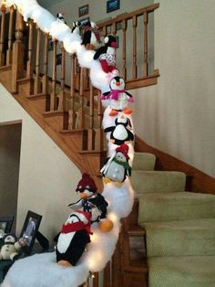 Penguin snow slide - the snow will stick to the garland then sew a thread through each penguin and tie around the banister. Easy christmas decoration for the stairs! decor ideas Most Creative Christmas Decorations - Crafty Morning Christmas Crafts For Kids, Outdoor Christmas, Simple Christmas, Christmas Projects, Christmas Ideas, Reindeer Christmas, Christmas Cookies, Christmas Cactus, Beautiful Christmas