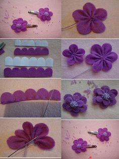 by rene diy cute felt flowers purple clip tutorial with beads - hea cloth flower making Shabby Shack is now closed. Cloth Flowers, Felt Flowers, Diy Flowers, Fabric Flowers, Paper Flowers, Felt Diy, Felt Crafts, Fabric Crafts, Sewing Crafts