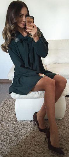 #winter #fashion / Dark Green Dress +pumps