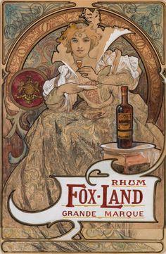 RHUM FOX-LAND. GRANDE MARQUE. Original maquette.1897. Watercolour, ink and pencil on paper. 54.2 x 35.6cm. Art by Alfons Mucha.(1860-1939).