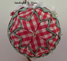 Handcrafted by Denise (Fabric Ornaments) Quilted Fabric Ornaments, Quilted Christmas Ornaments, Christmas Bulbs, Christmas Decorations, Christmas Stuff, Fabric Balls, Fabric Wreath, Fabric Stars, Ornament Tutorial