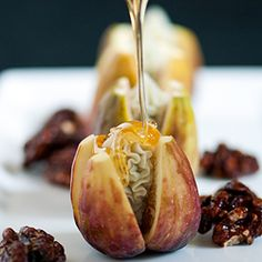 A fresh and elegant appetizer while figs are in season - figs with Gorgonzola dolce blue cheese and honey.