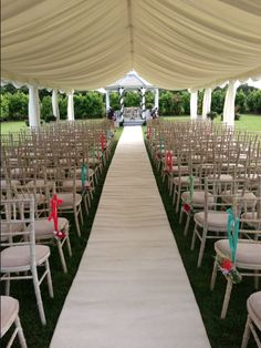 outdoor wedding ceremony open sided marquee Old Brook Barn